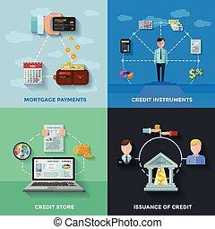 2x2, crédit, conception, classement, concept