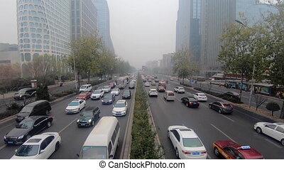 3ème, pollué, route, timelapse, lourd, beijing, trafic, gris...