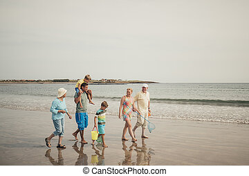 3世代家族, 上に, a, 浜