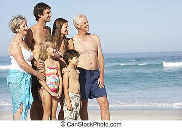 3世代家族, 休日, 歩くこと 浜に沿って