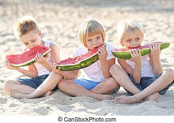 3人の子供たち, 遊び, 上に, 牧草地, 中に, 夏