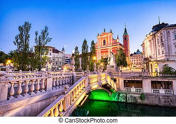 3倍になりなさい, 美しい, 中心, 橋, 教会, 都市, ljubljana, 見落とすこと, 夕闇, ...