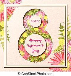 3月, カラフルである, 挨拶, 女性, 花の8, 日, カード, 幸せ