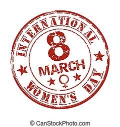 3月, 切手, テキスト, 内側。, ゴム, 書かれた, インターナショナル, 8, グランジ, womens, 日, 赤
