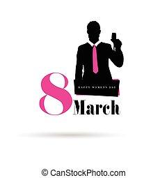 3月, 描述, 设计, 人, 8, 侧面影象, 开心, 图标