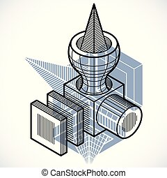 3次元である, 抽象的, 形。, trigonometric, 工学, ベクトル, 建設