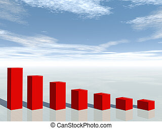 3차원, 개념, 의, 재정, 위기, 사업, 그래프, 내리는 것
