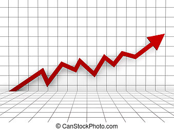 3차원, 그래프, 벽, 화살, 빨강, 높은