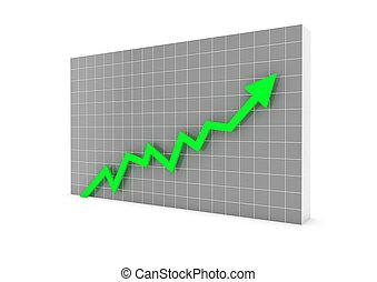3차원, 그래프, 화살, 녹색, 높은