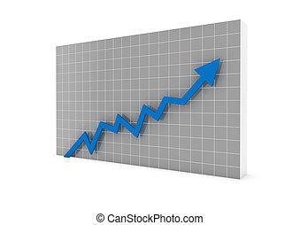 3차원, 그래프, 화살, 파랑, 높은