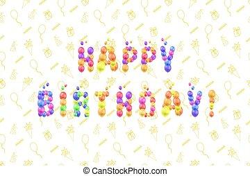 3차원, 기구, 인사, 본뜨는 공구, 카드, 낙서, 파티., 다채로운, 행복하다, 삽화, 생일, 벡터, 배경막, 축하