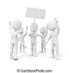 3차원, 남자, -, 그룹, 의, 항의, 사람