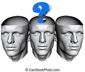 3차원, 남자, 머리, 와, 파랑, 물음표