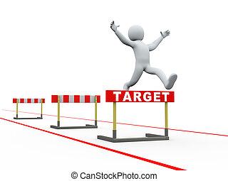 3차원, 남자, 목표, 장애물, 궤도를 관찰하다, 뛰는 것
