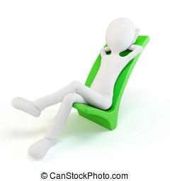 3차원, 남자, 위에 휴식하는, a, 긍정적인, 상징