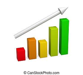 3차원, 다채로운, graph., 개념, growth.