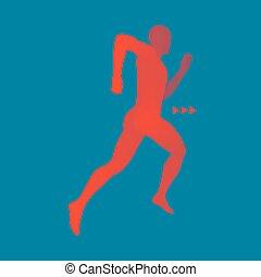 3차원, 달리기, man., 디자인, 치고는, sport., 벡터, illustration., 인간, body.