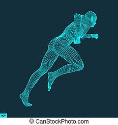 3차원, 달리기, man., 디자인, 치고는, sport., 벡터, illustration.