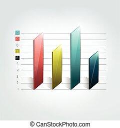 3차원, 도표, 그래프, bar., infographic, element.
