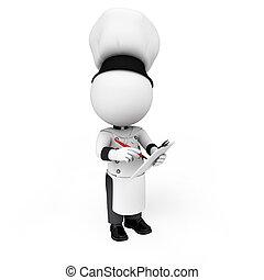 3차원, 백색, 사람, 가령...와 같은, 요리사