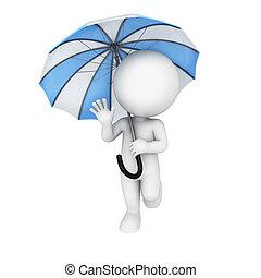 3차원, 백색, 사람, 와, 우산
