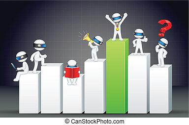 3차원, 사업가, 통하고 있는, 막대 그래프