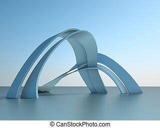 3차원, 삽화, 의, a, 현대 건축술, 건물, 와, 은 활 모양으로 한다, 통하고 있는, 하늘, 배경