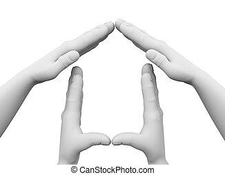 3차원, 손, 집, 상징, 삽화