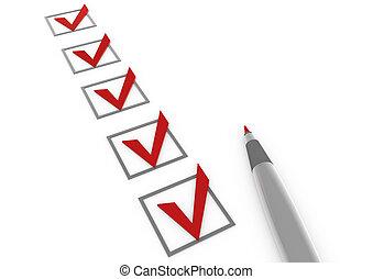 3차원, 수표, 장관의 공용 서류함, 펜