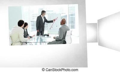 3차원 애니메이션, 통하고 있는, 사무실, 상황