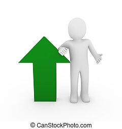 3차원, 인간, 화살, 성공, 녹색, 높은, 사업