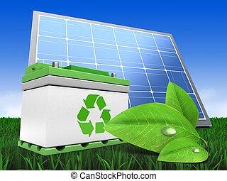 3차원, 자동차 배터리, 와, 태양 전지판