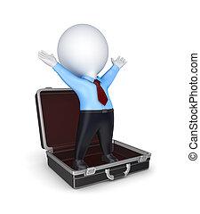 3차원, 작다, 사람, 에서, 열는, suitcase.