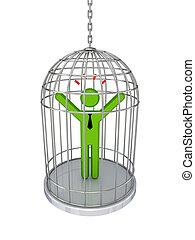 3차원, 작다, 사람, 에서, a, birdcage.