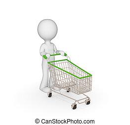 3차원, 작다, 사람, 와, 쇼핑, trolley.
