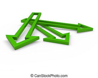3차원, 화살, 녹색