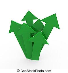 3차원, 화살, 높은, 녹색