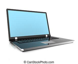 3차원, 휴대용 컴퓨터, 고립된, 백색 위에서