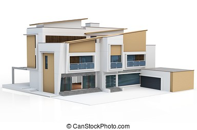 3차원, render, 의, 현대, 집