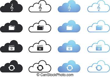 3, állhatatos, felhő, gyűjtés, kiszámít