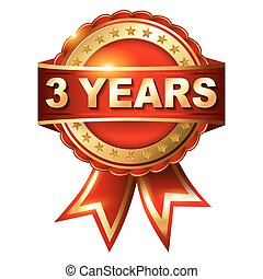 3, år, garanti, gylden, etikette, hos, ribbon.