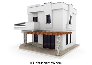 3, épület, elszigetelt, white