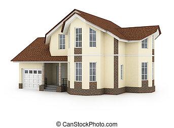 3, épület, elszigetelt, white, viszonoz, faji