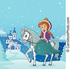 3, équitation, hiver, cheval, princesse