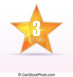 3, étoile, anniversaire, fond