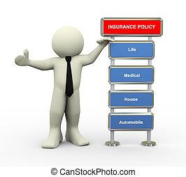 3, üzletember, és, biztosítási kötvény