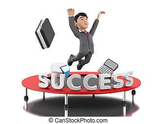 3, üzletember, ugrás, képben látható, egy, ugróasztal, noha, szó, success.