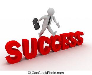 3, üzletember, ugrás over, 'success', szó, noha, white háttér