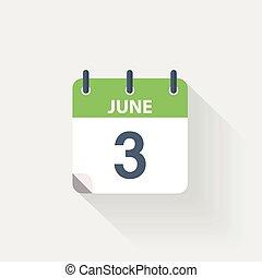 3, červen, kalendář, ikona