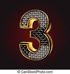 3, שחור, מכתב, זהב